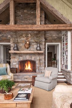 Light filters in from three side of this Kentucky living room, which is filled with stone and wood elements.