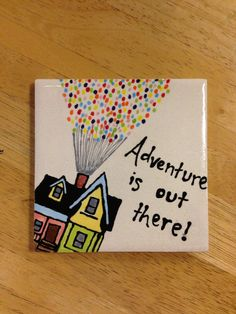 Adventure is out there. Painted Ceramic Plates, Ceramic Painting, Ceramic Art, Pottery Painting Designs, Pottery Designs, Pottery Ideas, Painted Earth, Hand Painted, Disney Crafts
