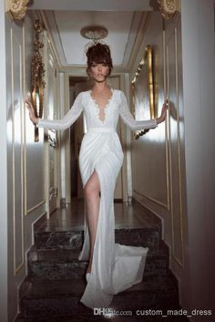 $176!  Buy YAKI RAVID 2014 Sexy Deep V Plunging with Long Sleeve Lace Wedding Dresses High Slit Sheath Court Train Shiny Sequined Bridal Gowns Ruched, $142.83 | DHgate.com