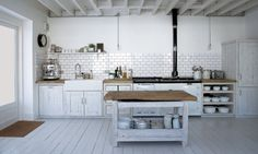 Kitchen Gallery at Astounding Rustic White Kitchen Cabinets Pics Design Ideas Kitchen Interior, New Kitchen, Kitchen Dining, Kitchen Decor, Kitchen Ideas, Kitchen Island, Kitchen Rustic, Kitchen Modern, Vintage Kitchen