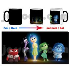 Taza mágica magica magic mug out inside reves del ira miedo alegria asco triste