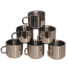 BM Stainless Steel 6 Piece Coffee Mug Set
