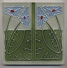 Super rare Ernst Teichert Blumen Jugendstil Fliese art nouveau tile