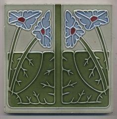 Super rare  Ernst Teichert  Blumen  Jugendstil  Fliese  art  nouveau tile
