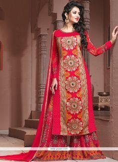 Embroidered Georgette Designer Palazzo Salwar Kameez In Hot Pink Model: YOS8412