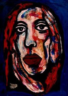"Saatchi Art Artist CARMEN LUNA; Painting, ""46-RETRATOS Expresionistas. Terapeuta."" #art http://www.saatchiart.com/art-collection/Painting-Assemblage-Collage/Expressionist-Portrait/71968/51263/view"