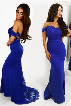 mermaid royal blue prom dress, long prom dress off the shoulder Cobalt Blue Dress Bridesmaid, Bridesmaid Dresses Under 100, Hoco Dresses, Blue Bridesmaids, Blue Dresses, Mermaid Evening Dresses, Formal Evening Dresses, Strapless Dress Formal, Elegant Dresses