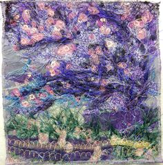 "Created with fabrics, fibres, threads, free motion machine stitching and water soluble stabilizer. 8"" x 8"" ""Wind in the Cherry Blossoms"""