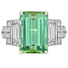 Raymond C. Yard 6.12 Carat Mint Tourmaline Diamond Ring | From a unique collection of vintage cocktail rings at https://www.1stdibs.com/jewelry/rings/cocktail-rings/