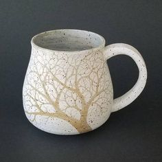 16 oz Large Rustic Matte White Sgraffito Stoneware - Winter Trees and Ravens Mug - Handmade Pottery