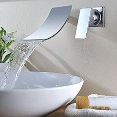 KINSE® Grifo Lavabo de pared cromado lavabo monomando mezclador para cocina y baño (Agua Fría y Caliente) vanità fregadero grifo a pared: Amazon.es: Bricolaje y herramientas