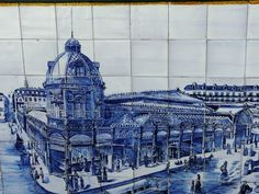 Painel de azulejos representando o antigo Mercado da Praça da Figueira - Lisboa - numa parede da Rua do Alecrim