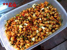 INGREDIENTES  250g de grão de bico  1 cenoura gde ralada grossa  1 punhado de cheiro verde  4 ovos cozidos  100g de azeitonas verd...