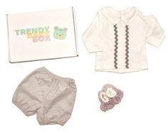 Soft Grey and warm creams make this outfit comfortable and cosy. This is a look at one of our baby boy outfits we've sent out in our Trendy Baby Box - Subscription box