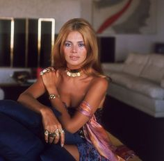 Love the whole bumped up hair and gypsy jewelry early 70s Britt Ekland