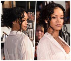frisuren-für-lange-haare-rihanna-weißes-weites-hemd-goldene-halskette-make-up-in-braun Mtv Movie Awards, Loose French Braids, Rihanna, Trends, Stars, Hair Styles, Up, Movies, Beauty