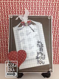 Valentine's Day card w/ 3 Girl Jam crinkle ribbon in white