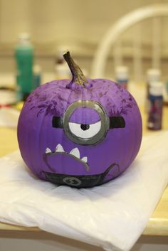 Evil Minion painted pumpkin!