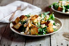 Left-over Roast chicken salad with goat's cheese & sourdough croutons - Simply Delicious— Simply Delicious