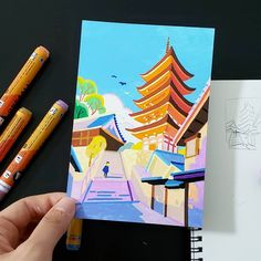 From the bright crimson of toriis and temples, to the rainbow of neon lights in Shinjuku and all the way to the distant blue of Mount Fuji—Japan is full of… Molotow Marker, Posca Marker, Marker Art, Cool Art Drawings, Colorful Drawings, Art Sketches, Gouache Illustrations, Illustration Art, Inspiration Art