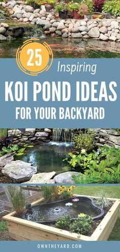 A koi pond is a beautiful water feature that can liven up any dull space. Imagine relaxing beside yo Backyard Camping, Backyard Playground, Ponds Backyard, Playground Ideas, Backyard Ideas, Koi Ponds, Small Water Features, Outdoor Water Features, Aqua Culture