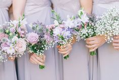 With a single sunflower in each bouquet Rustic Marquee Wedding In Yorkshire With A Lavender And Dove Grey Colour Scheme With Bride In Cymbeline Of Paris Dress And Images From Georgina Harrison Photography Bridesmaid Bouquet White, Lavender Bridesmaid, Lavender Bouquet, Bridesmaid Dresses, Purple Bouquets, Flower Bouquets, Wedding Bridesmaids, Lilac Wedding Flowers, Rose Wedding Bouquet