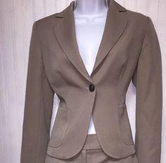JCREW WOMENS BEIGE 100% WOOL BUSINESS CAREER PANT SUIT SIZE 4/8  | eBay