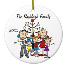Shop Family Parents, Two Boys, Girl, Cat Ornament created by christmasshop. Stick Figure Drawing, Stick Figures, Diy Christmas Ornaments, Family Photos, Art For Kids, Rocks, Cartoons, Bullet Journal, Big