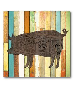 Love this Striped Pig Wrapped Canvas by Courtside Market on #zulily! #zulilyfinds