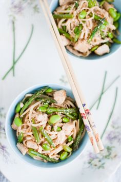 Soba noodle chicken salad