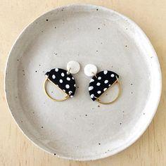 Silhouette Earrings White Granite & Black/White Pattern with