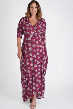 Womens Plus Size Dark Pink Floral Wrap Maxi Dress With Sleeves. Plus size maxi wrap dress with sleeves in a wonderful dark pink floral pattern. - Plus Size Maxi Dresses - Ideas of Plus Size Maxi Dresses Maxi Wrap Dress, Maxi Dress With Sleeves, Floral Maxi Dress, Short Sleeve Dresses, Long Sleeve, Plus Size Maxi Dresses, Plus Size Outfits, Dress Out, Hollywood Fashion