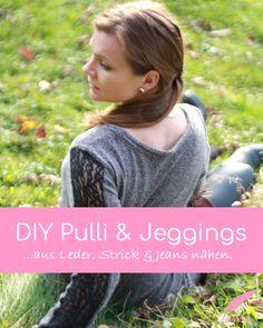 Herbstoutfit nähen, nähe dir eine Jeggings und Pullover aus Strick, Leder und Jeans im Partnerook. Schnell genähtes Outfit für alle die einen Materialmix lieben.