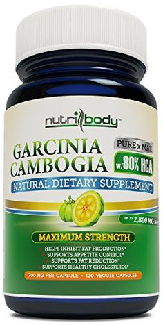 nutribody Pure Garcinia Cambogia Extract - 80% HCA (Highest on Amazon), 700 mg Per Capsule, 120 Vegetarian Capsules, 30 Days Supply of 2800 mg Extremely Powerful NEW and IMPROVED Garcinia Cambogia Extract, Maximum Strength Natural Weight Loss Supplement, Appetite Suppressant, Fat Burner. 100% Money Back Guarantee! No Risk - Lose Weight or Your Money Back! ✔✔✔ Check [SPECIAL OFFER & PROMO] below for FREE BONUS ✔✔✔ NUTRIBODY