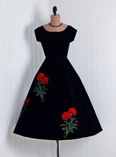 1950's Vintage Tina Leser Designer-Couture Embroidered Red-Floral Botanical Scenic-Garden Black Silk-Velvet Short-Sleeve Fitted Button-Down Rockabilly Ballerina-Cupcake Bombshell Full Circle-Skirt Swing Formal Wedding Evening Cocktail Party Dress Set