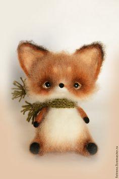 *NEEDLE FELTED ART ~ Animal toys, handmade.  Fair Masters - handmade.  Buy toys made of felt.  Fox with a scarf .. Handmade.  Multicolored, fox
