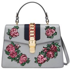 Gucci Sylvie Embroidered Leather Top Handle Bag ($3,500) ❤ liked on Polyvore featuring bags, handbags, grey, gucci purses, grey purse, top handle handbags, grey leather purse and genuine leather purse