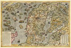 Sea map of a Scandinavia by Antony Lafreri, 1572. Carta marina. Sweden, Denmark, Norway, Iceland and Finland.  Antique Reprint.