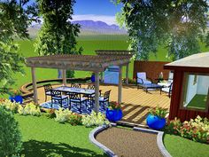 Backyard rendering of deck privacy wall and Pergola project with wraparound bench. There are numerous Deck With Pergola, Covered Pergola, Pergola Cover, Outdoor Bedroom, Planter Beds, Timber Roof, Sloped Backyard, Privacy Walls, Getaway Cabins