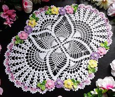 new hand crochet doily 13 x 16 inches
