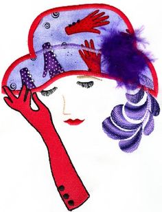 Red Hat Applique Purple Haze, Red Purple, Red And Pink, Applique Patterns, Textile Patterns, Red Hat Club, Red Hat Ladies, Red Hat Society, Hat Crafts