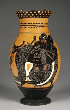 Attic Black-Figure Olpe, Artist/Maker: Attributed to Chiusi Painter (Greek, active 520 - 510 B.) Culture: Greek (Attic) Place: Athens, Greece (Place Created) Date: about 510 B. Greek Artifacts, Ancient Artifacts, Classical Greece, Classical Art, Ancient Greek Art, Ancient Greece, Greek Pottery, Black Figure, Greek History