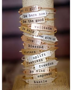 Love these!  Cents of Style | Tribe Bracelets Stamped Phrase Bangles (Use code: POWELL)