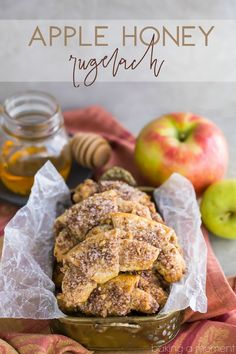 Apple Honey Rugelach: tender cream cheese pastries filled with charoset- an apple/honey/walnut mixture that's perfect for Rosh Hashana or any other fall occasion! Apple Desserts, Apple Recipes, Holiday Recipes, Honey Recipes, Yummy Recipes, Dessert Recipes, Wontons, Cannoli, Recipes