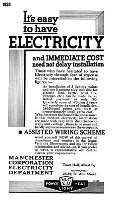 1934. Manchester Corporation Electricity Department advert