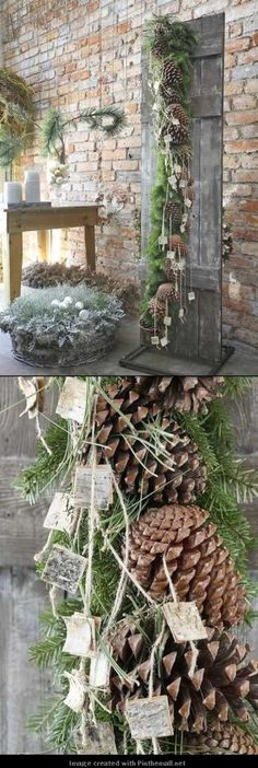 Weihnachten⛄Winterzeit Garland of fir branches, pine cones, cord and pieces of bark. Christmas Garden, Christmas Porch, Outdoor Christmas, Country Christmas, Christmas Projects, Winter Christmas, Christmas Holidays, Christmas Wreaths, Christmas Ideas