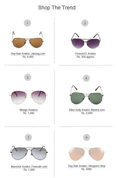 Iconic Aviators: No matter what is the current trend in eye wear, aviators always manage to look polished and of-the-moment.