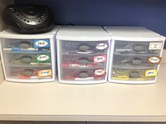 Colored pencils, crayons, markers, etc. all get stored here.  Students may take 5 back to their desks at a time, and come back to SWAP.  No more rummaging for the red...