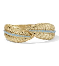 Palmas Hinged Cuff Bracelet Blue Opal Cut Crystals in Matte Gold.As seen on the Red Carpet. Lifetime Guarantee