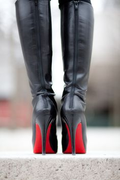 Christian Louboutin boots - LOVE the red soles! Louboutin Boots, Fashion Moda, Womens Fashion, Fashion Shoes, Luxury Fashion, Fashion Outfits, Stiletto Heels, High Heels, High Boots